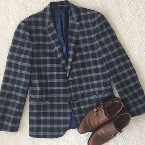 Ben Sherman Mens blue Plaid Blazer Sports Coat